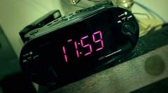 Digital Clock Strikes Midnight Cinematic Horror Feel Stock Footage