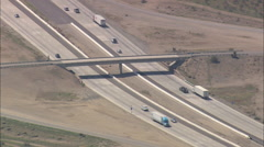 AERIAL United States-Crossing Mojave Freeway, Interstate 15 Stock Footage
