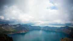 Changbai mountain volcano crater time lapse 4k - stock footage