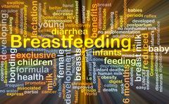 Breastfeeding background concept glowing - stock illustration