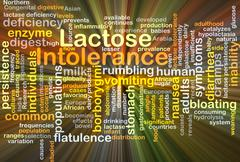 Lactose intolerance background concept glowing Stock Illustration