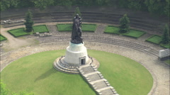 AERIAL Germany-Soviet War Memorial Stock Footage