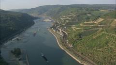 AERIAL Germany-The Rhine Near Assmannshausen Stock Footage