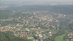 AERIAL Germany-Marburg And Castle Stock Footage