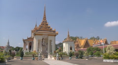 Statue of King Norodom at Royal Palace in Phnom Penh, Cambodia Stock Footage