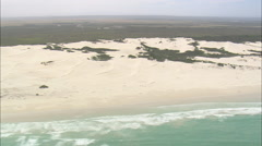 AERIAL South Africa-Arniston, Beach, Dunes And Ancient Fish Traps Stock Footage