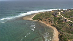 AERIAL South Africa-Large And Small Holiday Houses At Still Bay West Stock Footage