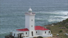 AERIAL South Africa-Mossel Bay Lighthouse Stock Footage