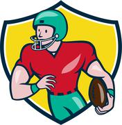 American Football Receiver Running Shield Cartoon Stock Illustration