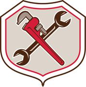 Stock Illustration of Pipe Wrench Spanner Crossed Shield Cartoon