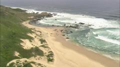 AERIAL South Africa-Coastline East Of Oobosstrand Stock Footage
