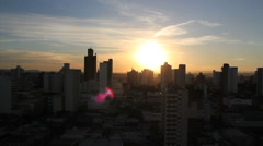 Sunrise. City view. Piracicaba is a brazilian city. Sao Paulo state. Buildings. Stock Footage