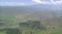 AERIAL South Africa-Giant's Castle And Dragon's Back Mountains Stock Footage