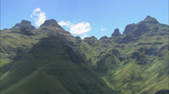 AERIAL South Africa-Crags Around Cathedral Peak Stock Footage
