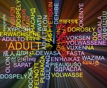 Adult multilanguage wordcloud background concept glowing - stock illustration