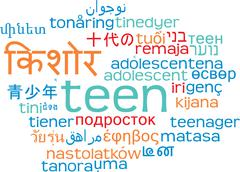 Teen multilanguage wordcloud background concept - stock illustration