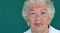 13 Hispanic Old People Portrait Serious Senior Woman Face Expression Stock Footage