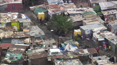 AERIAL South Africa-Shanty Town In Soweto Stock Footage