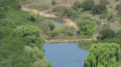 AERIAL South Africa-River Modder Stock Footage