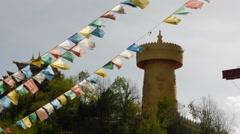 Giant Tibetan Prayer Wheel, Dukezong Shangri-La China Stock Footage