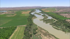 AERIAL South Africa-Low Over Vineyards On River Orange Stock Footage