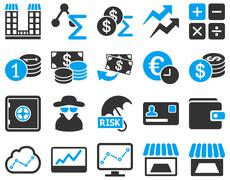 Accounting service and trade business icon set Stock Illustration