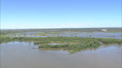 AERIAL South Africa-Great Berg River In Flood Stock Footage