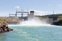 Whitehorse hydro power dam spillway Yukon Canada Stock Photos