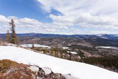 Boeal forest taiga hills spring Yukon Canada - stock photo