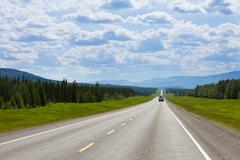 RV southbound Alcan Fort Nelson BC Canada - stock photo