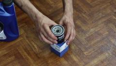 Working out of the box removes the engine oil filter Stock Footage