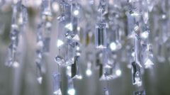 Crystal chandelier. Close up of the crystals. Stock Footage