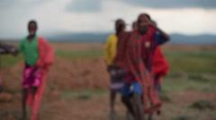 Stock Video Footage of Colorful traditional Samburu children jump and play, Kenya, Africa