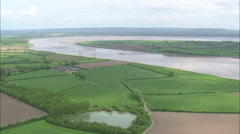 AERIAL United Kingdom-River Severn Estuary Stock Footage
