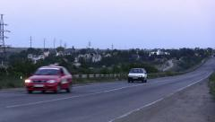 Two cars go over the bridge Stock Footage