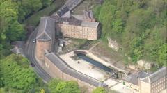 AERIAL United Kingdom-Cromford Mill Stock Footage