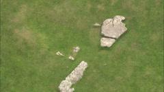 AERIAL United Kingdom-Arbor Low Stone Circle Stock Footage