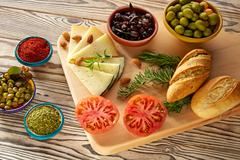 Mediterranean food bread oil olives cheese Stock Photos
