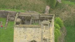 AERIAL United Kingdom-Helmsley Castle Stock Footage