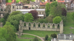 AERIAL United Kingdom-St Mary's Abbey - stock footage