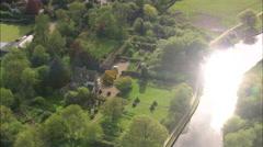 AERIAL United Kingdom-The Manor Hemingford Grey Stock Footage