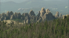 AERIAL United States-Harney Peak And Look Out Tower Stock Footage