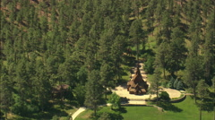 AERIAL United States-Norwegian Stave Church Stock Footage