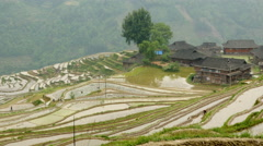 Village and Terraced Rice Field Stock Footage