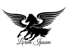 Winged Stallion Logo - stock illustration