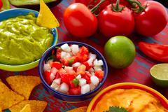 Mexican food nachos guacamole pico gallo cheese Stock Photos