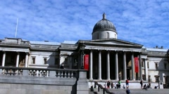 National Gallery of Art, Trafalgar Square, London, UK Stock Footage