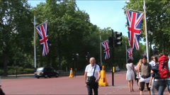 The Mall - street in front of Buckingham Palace in London Stock Footage