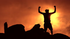 4K Happy Person Nature Sunset Silhouette - stock footage