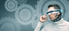 Stock Photo of man with futuristic 3d glasses and sensors